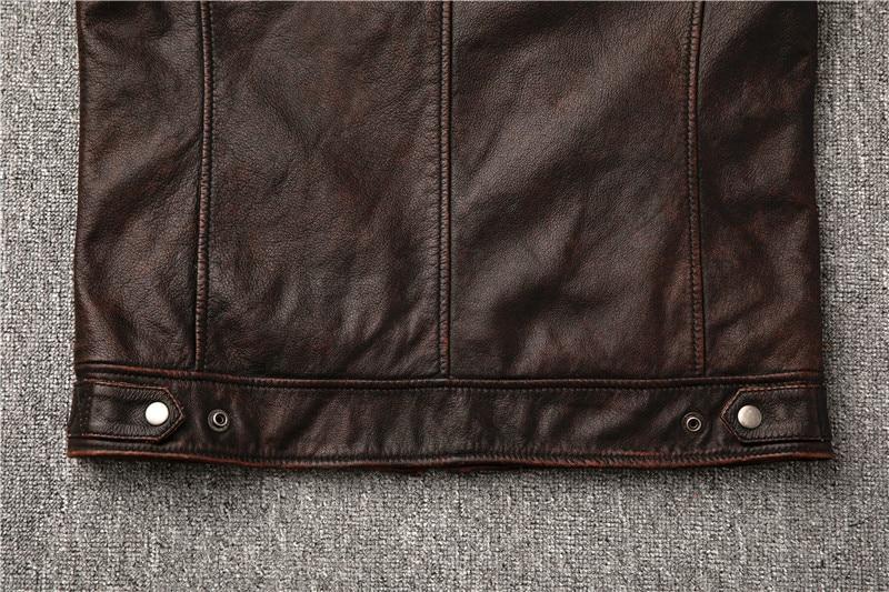 Hae226f8c5d114de5b76ffd8e28eaf8fcb Classic motor style,vintage genuine leather Jacket,fashion men brown Leather coat,street biker coat,sales