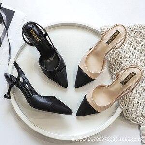 Image 3 - รองเท้าผู้หญิง 6 ซม.รองเท้าส้นสูงSlingbackปั๊มผู้หญิงเซ็กซี่Pointed Toe Partyงานแต่งงานElegant Officeรองเท้าส้นสีดำBeige