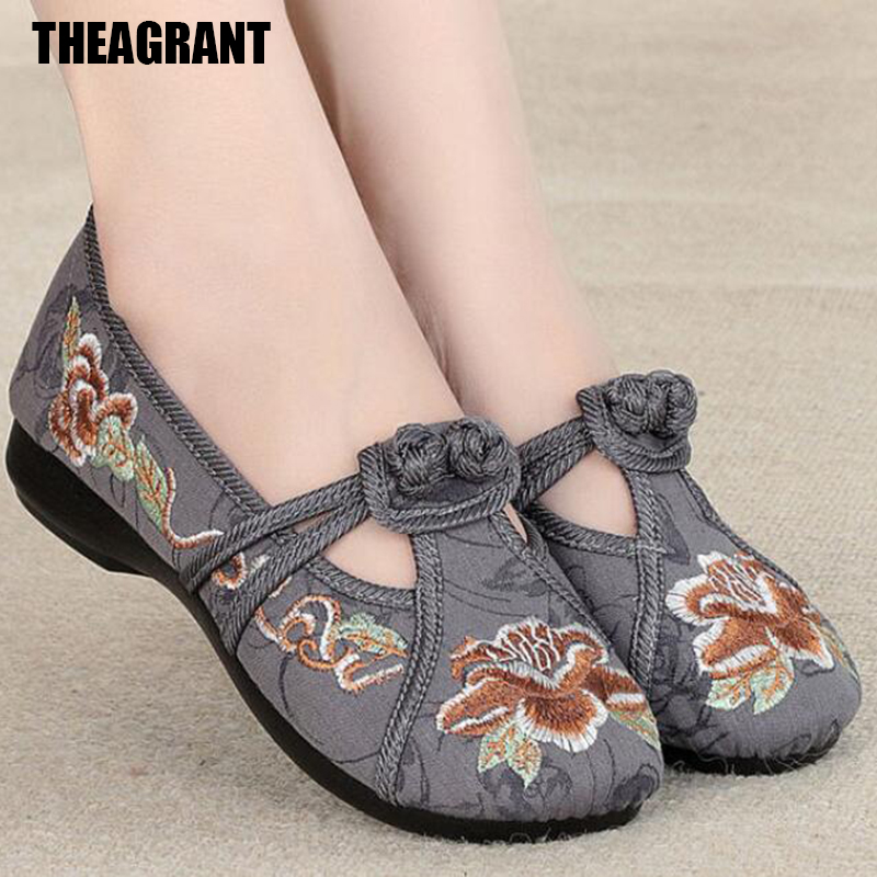 THEAGRANT Traditional Style Women Flats Soft Loafers 2019 Spring Autumn Shoes Women Embroidered Slip On Chinese Shoes WFS2003