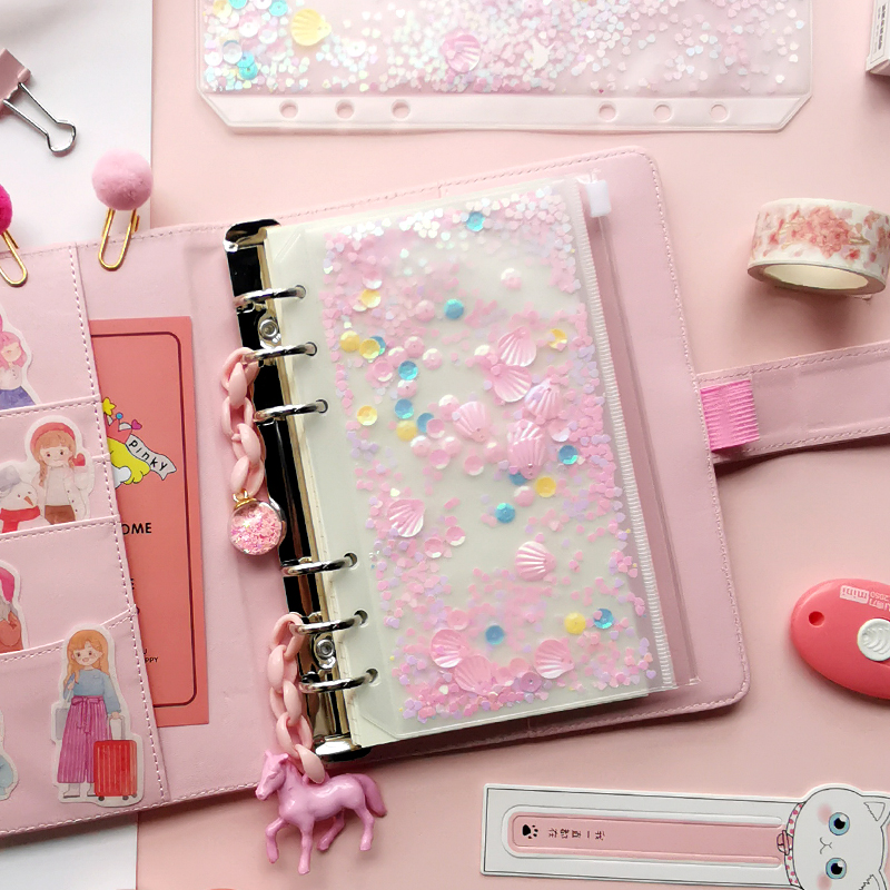 Cute Sequin Zipper Bag Notebook Pvc Pocket Shake Cards Storage Bag For Spiral A5A6 Planner Accessories Office School Stationery