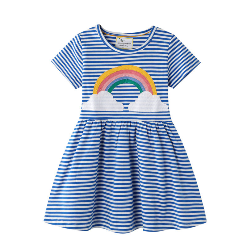 Jumping Meters 2-7T Princess Baby Dresses Applique Rainbow Cute Party Girls Tutu Dresses Cotton Stripe Children's Girls Dress