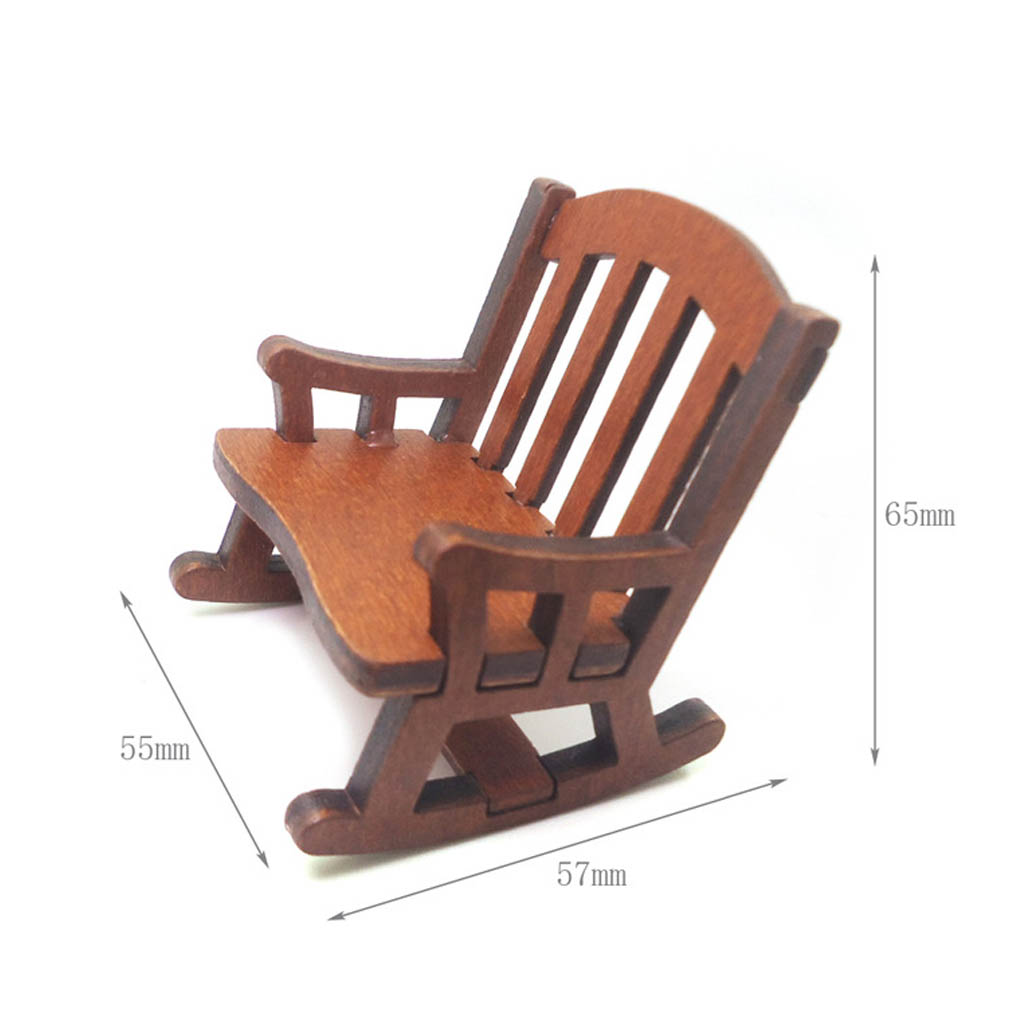 Mod/èle de maison de poup/ée Fauteuil /à bascule miniature en bois 1//12 Caf/é Fliyeong Pratique et populaire
