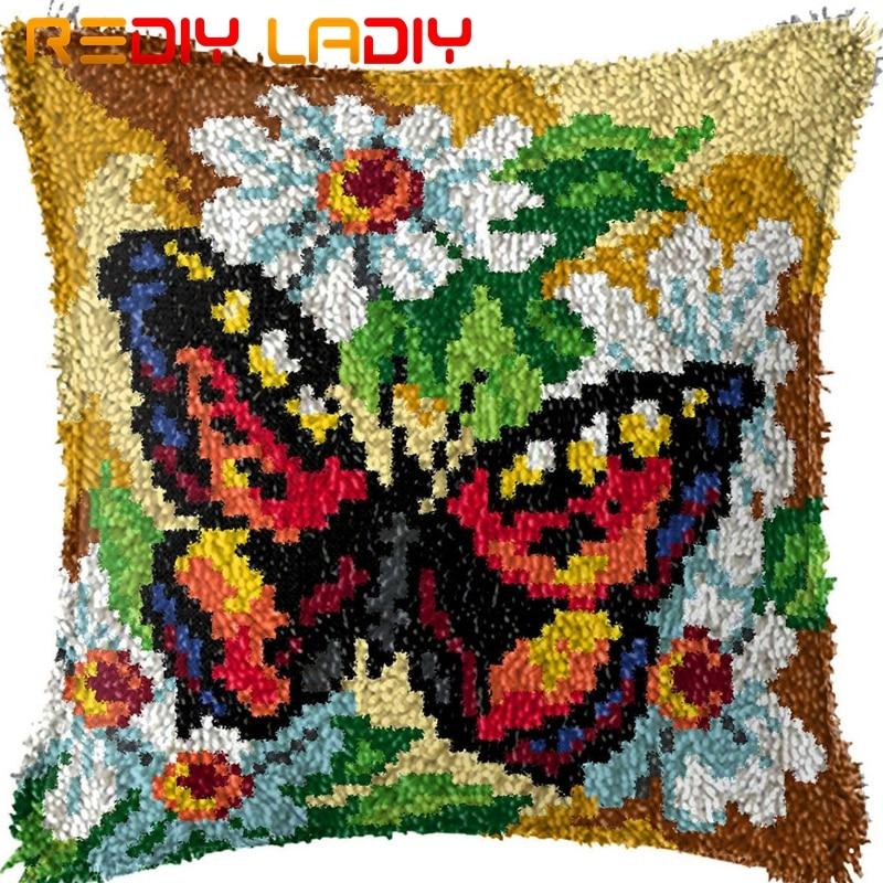 Trava gancho almofada laranja borboleta impresso lona capa de almofada acrílico fio crochê kits kits hobby & artesanato decoração da sua casa
