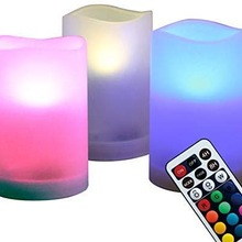 3Pcs Romantic Colors Changing Flameless LED Candle Light With Remote Control Wedding Party Birthday Valentine Lamp Supplies