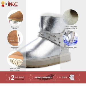 Image 2 - INOE Waterproof Sheepksin Leather Shearling Wool Fur Lined Short Winter Boots Women Ankle Snow Boots Silver Crystal Strap Shoes