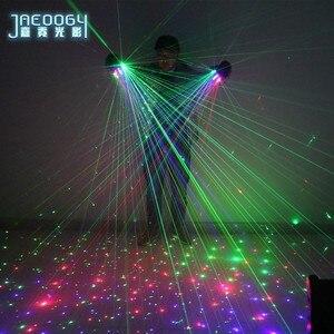 Image 2 - Di alta qualità Fase del partito del DJ danza 2 in 1 Multi linea RGB Laser Guanti With2 Verde 1 Rosso 1 blu Per Il LED luminoso Costumi Mostrano