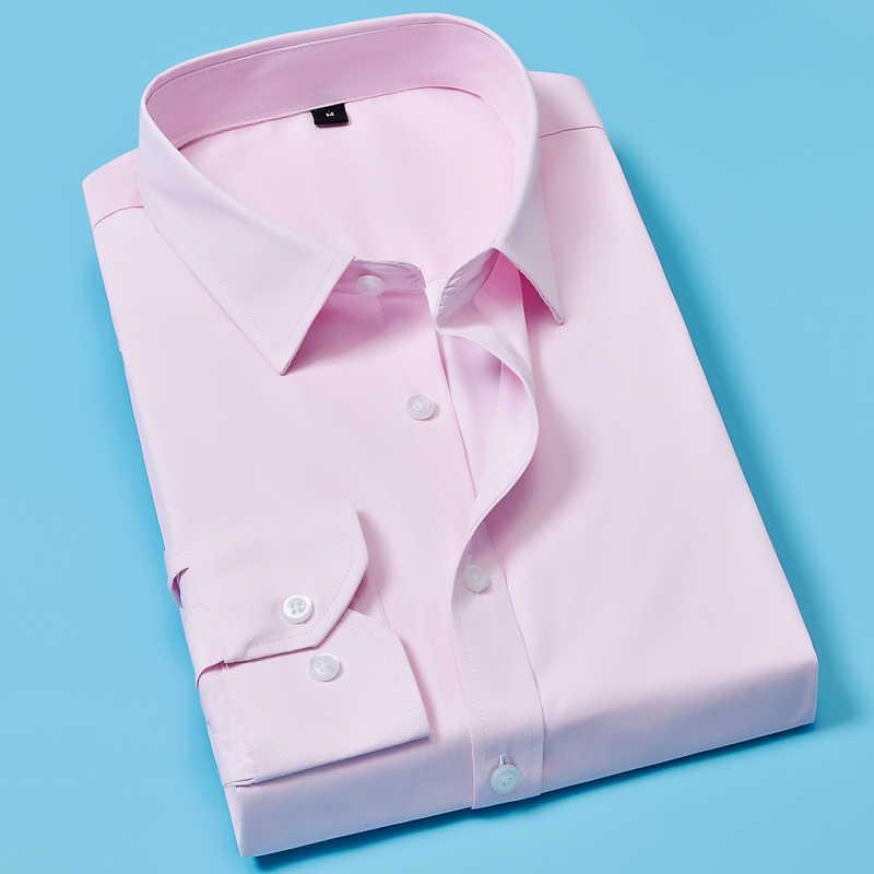 حجم كبير الرجال فستان قمصان طويلة الأكمام الصلبة الأعمال الرسمي الأبيض قميص رجالي ذكر الموضة الاجتماعية قمصان كبيرة الحجم