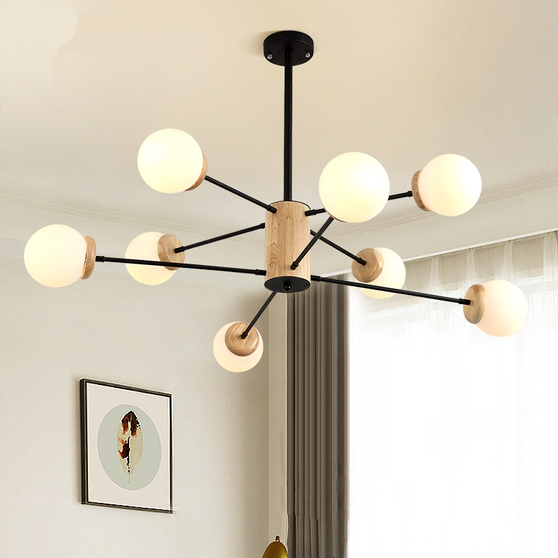 Iron and Black LED Chandelier Lighting Modern Wooden Art Living Room Bedroom Lighting Lustre Bar Cafe Hanging Lamp 110V 220V