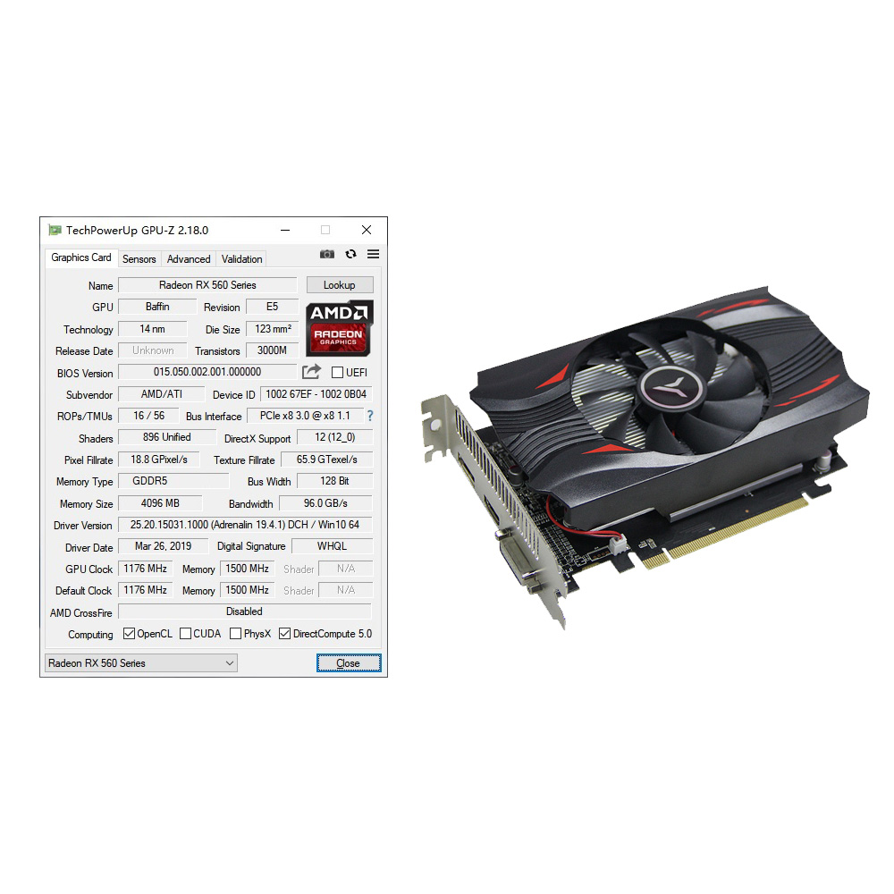 yeston RX560D-4G D5 Video Card Discrete Gaming Graphics Card 1176MHz/6000MHz 4G/128bit/GDDR5/DP+DVI-D+HDMI Desktop Video Cards 5