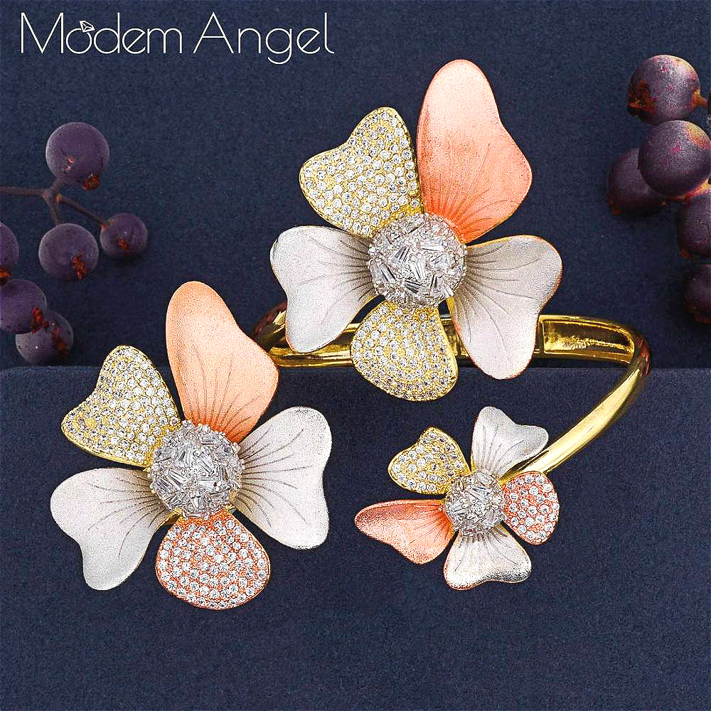 ModemAngel Luxury Flower 2Pc Bangle Ring Sets Cubic Zircon jewelry Sets for women Wedding Tricolor African Dubai Bridal Jewelry