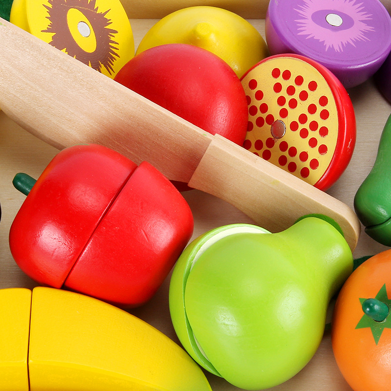 Wooden Fruits And Vegetables Look At The Magnetic Wooden Box Children Play Every Kitchen Toys Set Of Wooden Materials