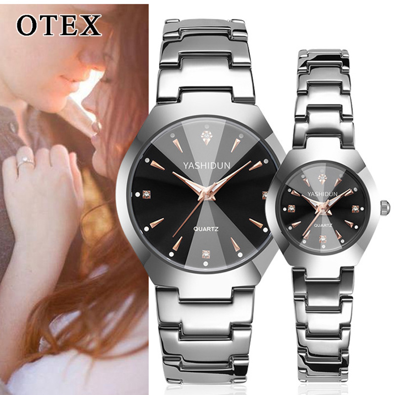 Men's / Women's Stainless Steel Waterproof Couple Watch Casual Quartz Luminous Pointer Clock Gift Reloj Pareja Hombre Y Mujer