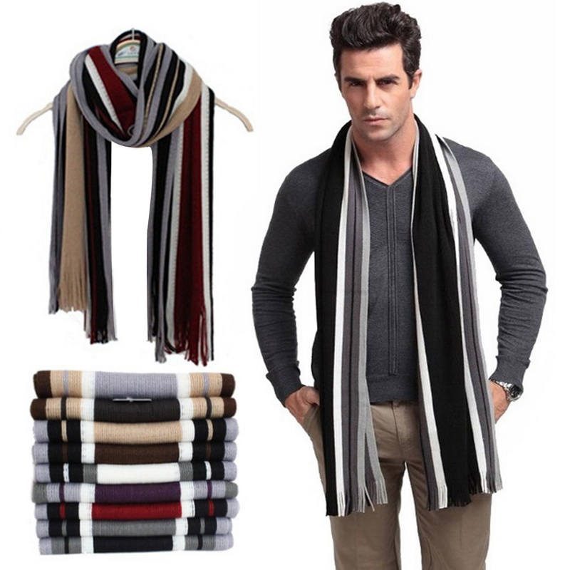 Men Winter Scarf Striped Scarf Foulard Fall Fashion Men Wrap Knit Cashmere Bufandas Striped Scarf With Tassels Fast Shipping