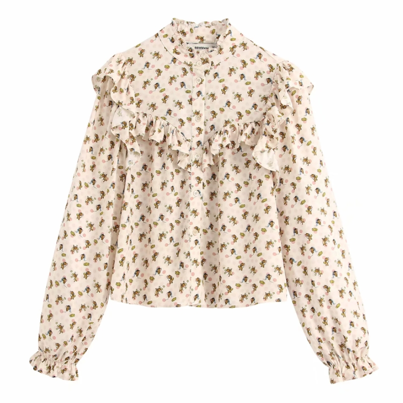 New Women Fashion Cascading Ruffles Print Casual Shirts Blouse Women Stand Collar Agaric Lace Roupas Femininas Brand Tops LS6324