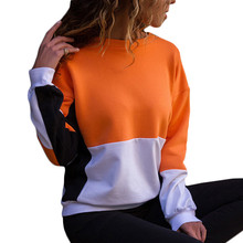 New Color Patchwork Long Sleeve Hoodies women Autumn 2019