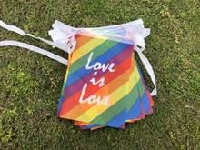 20 pcs Cordas Lésbica Colorful Rainbow Rainbow Flag Gay LGBT Orgulho LGBT Bandeira Bandeiras Bandeira Da Paz Certa Desfile Hangi