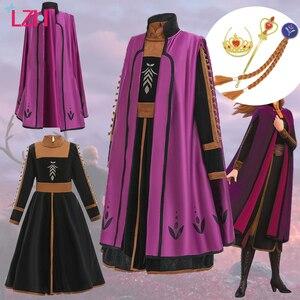 LZH платье Анны для девочек, костюм Эльзы 2, пасхальный карнавал, косплей, дети, день рождения, вечерние платья для девочек 8 12 лет