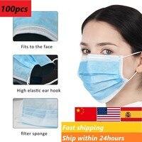 Em estoques máscara de proteção cirúrgica médica descartável seguro respirável anti poeira boca máscara earloops dental máscaras Capas p/ roupas     -