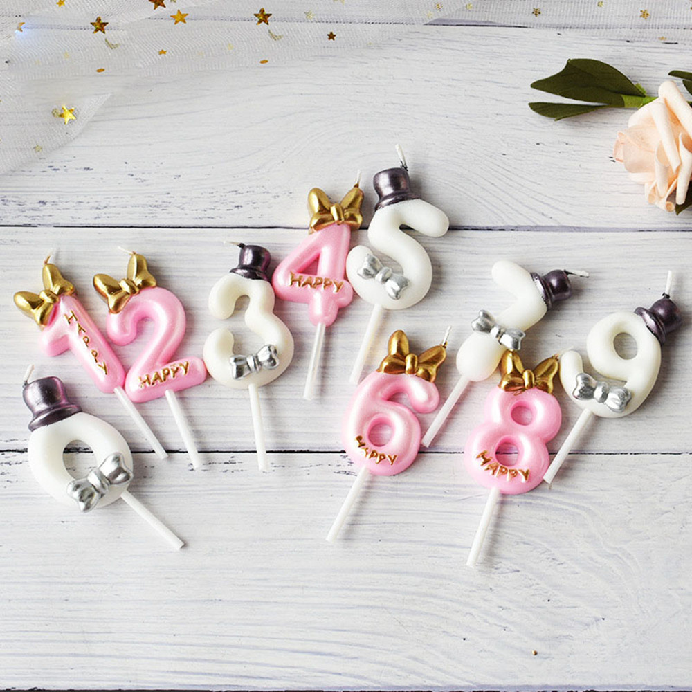 Digital Candle Birthday Cake Decorations Prince Princess Cake Topper Boy Girl Party Supplies Baby Shower Number Cake Candle