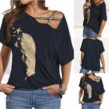 Shirt Tops Women Casual Cotton Summer Tee Print Hollow-Up Off-Shoulder Femme