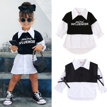 Dress Tops Shirts Letter Long-Sleeve FOCUSNORM Baby-Girls Infant Single-Breasted 2pcs
