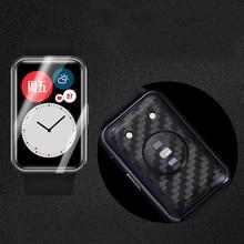 炭素繊維ステッカー背面保護tpuフロントガラススクリーンプロテクターhuawei社腕時計フィットスマートウォッチ保護