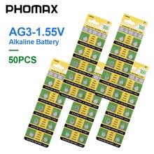 PHOMAX 50pcs AG3 SR41 192 button battery 392A L736 LR41 392 384 alkaline battery watch counter electronic instrument battery