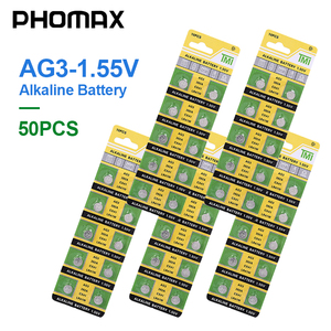 Image 1 - PHOMAX 50pcs AG3 SR41 192 button battery 392A L736 LR41 392 384 alkaline battery watch counter electronic instrument battery