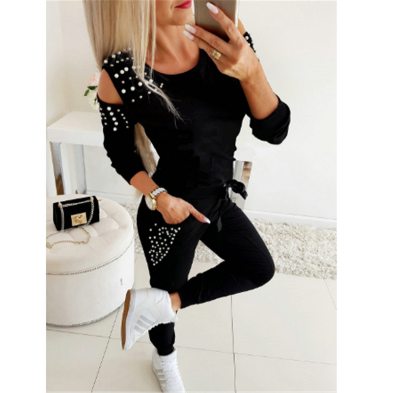 Casual Tracksuits For Women Spring Winter Casual Women Jogging Tracksuits Long Cold Shoulder Beading Sweatshirt Tops Pant Suits