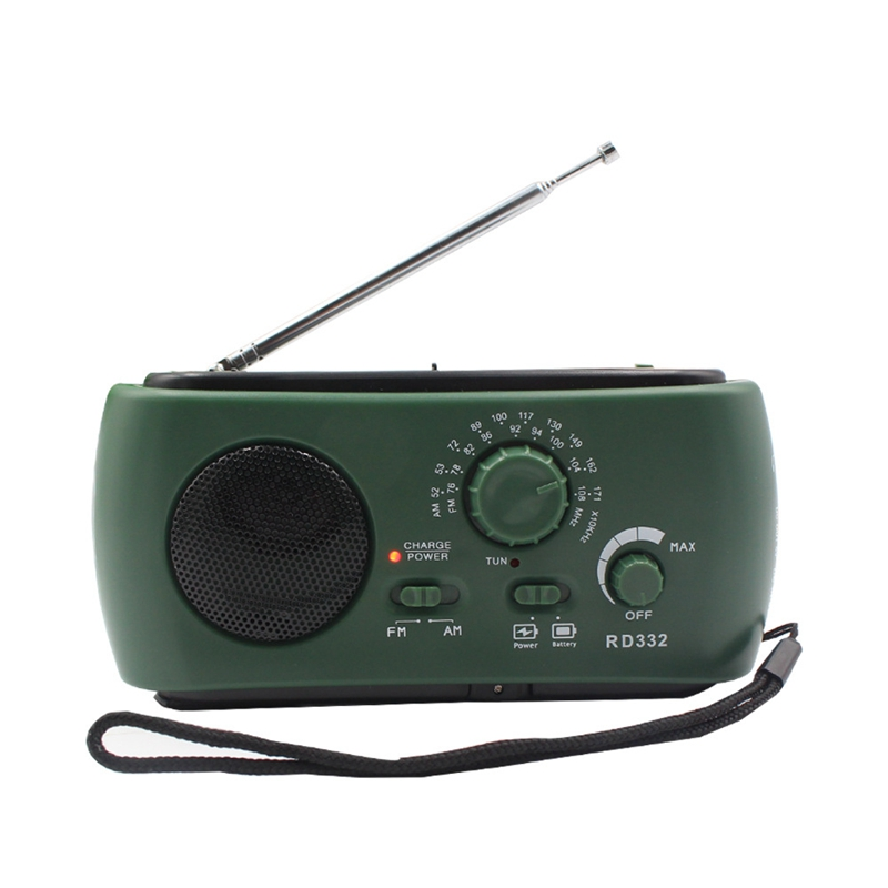 Radio Receiver Multifunction Am / Fm Dynamo Solar Radio Powerful Crank Generator Charger Green