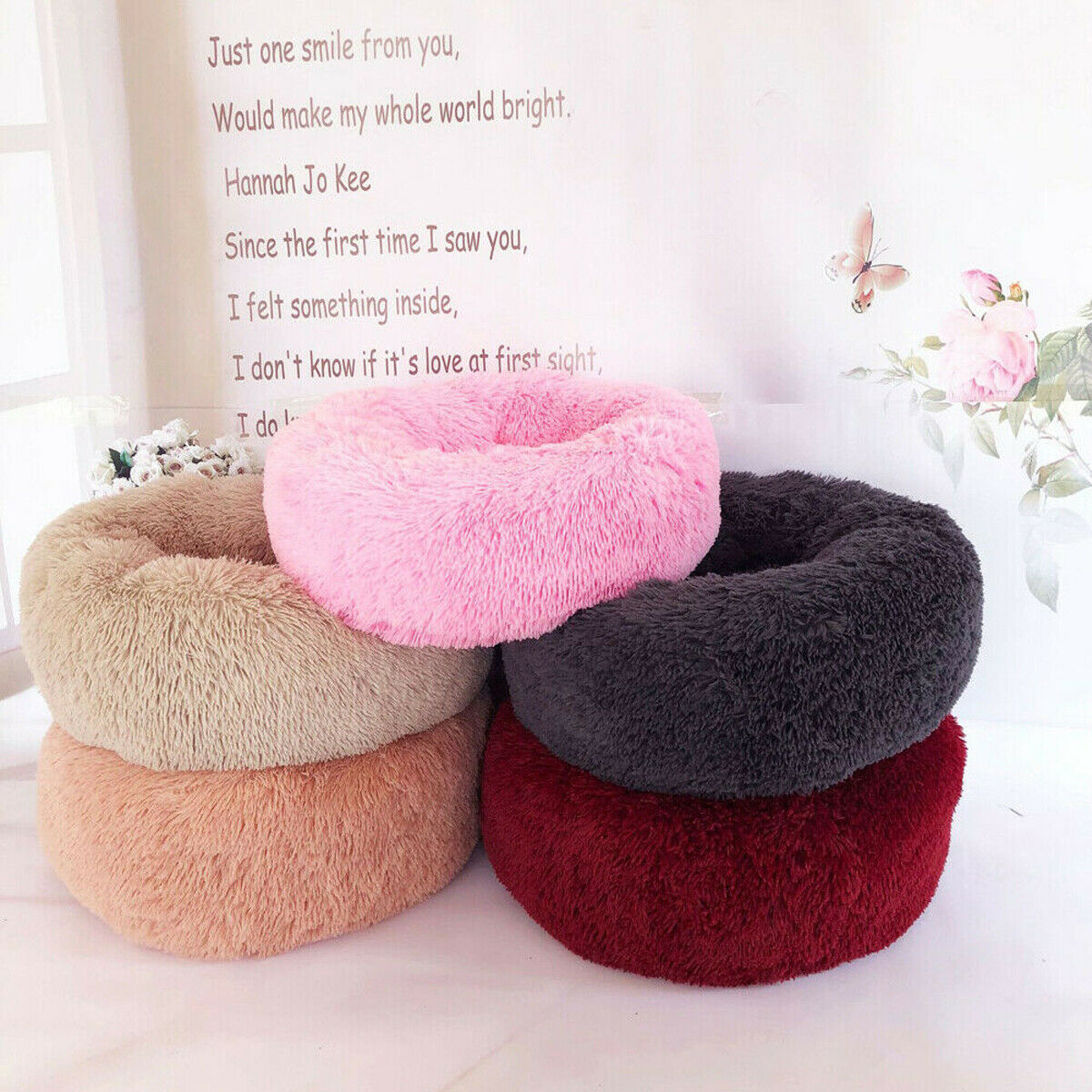 Pet Cat Dog Round Nest Warm Soft Plush Comfortable Calming Mat Bed for Sleeping