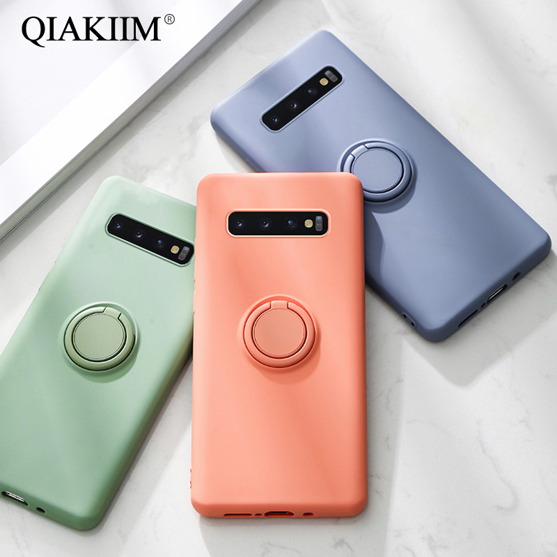Soft Silicone Case For Samsung Galaxy S20 Ultra Note 10 Plus S10E S10 S9 S8 A70 A50 A30 A80 A40 A01 A21 Ring Holder Stand Cover