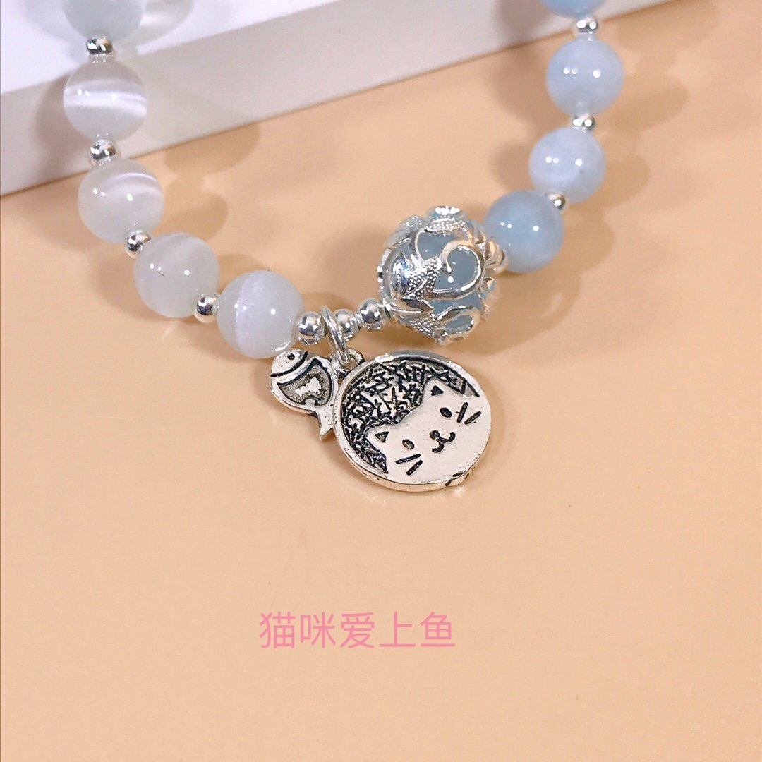 Купить с кэшбэком 925 Sterling Silver Maiden Chain Bracelet Hydrangea Embrace Cat Fish Pink Opal Fine Jewelry Women Bead Exquisite Ball Aquamarine