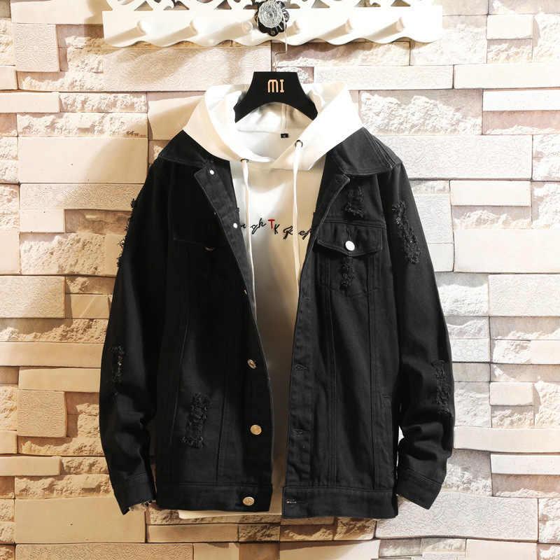 Erkek moda Denim ceket erkek rahat bombacı ceket erkek Hip Hop erkek retro Denim ceket ceket Streetwear 2020