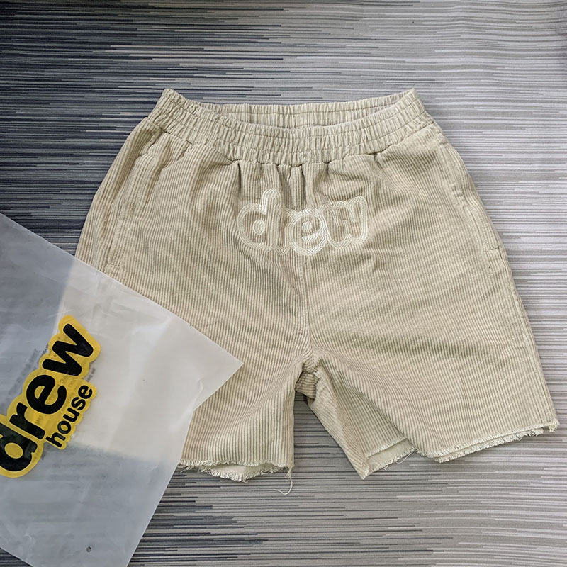 2020ss New Justin Bieber Drew House Corduroy Shorts Men Women Hiphop Men Women Couples Summer DREW Embroidery Shorts Men