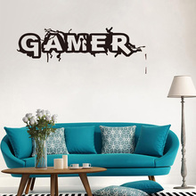 Free shipping Wall Room Decor Art Vinyl Sticker Mural Decal Gamer Word Game Home Decor Kids Room Wall Stickers недорого