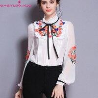 Women Flower Embroidery Shirt Summer Lantern Sleeve Vintage Silk Cotton Blouse White Ruffled Casual Work Bodysuit Shirt Top