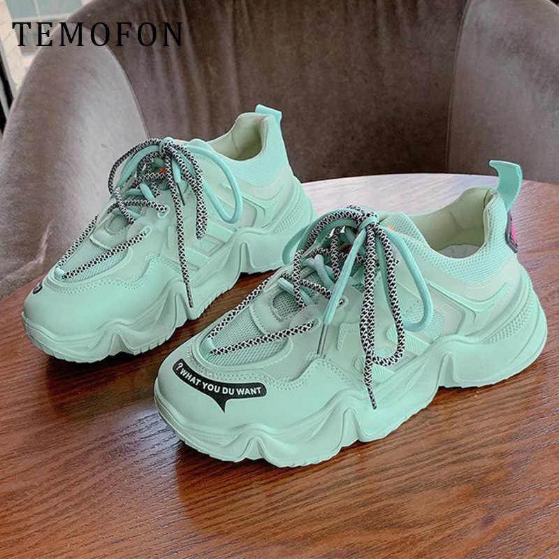 TEMOFON Nền Tảng Giày Nữ Kiểu Casual Thời Trang Tăng Chiều Cao 5CM Giày Thể Thao Sneaker Đáy Dày Chun Giày HVT1347