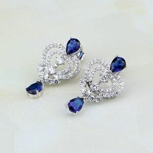 Image 5 - Water Drop Blue Cubic ZirconiaสีขาวCZเงินผู้หญิงเครื่องประดับงานแต่งงานต่างหูจี้ชุดสร้อยคอ