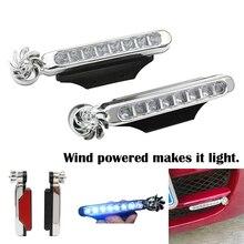 NEW 2 PCS Wind Energy No Need External Power Supply Car Daytime Running Lights 8 LED DRL Daylight Headlight Lamp DRL