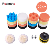 Realmote 22pcs 3 Inch Polishing Pad Disc Automobile Wax Sponge Wheel Polisher For Car