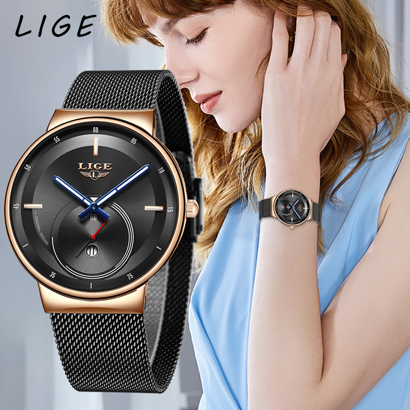 2020LIGE Women Fashion Watch Creative Lady Casual Watches Stainless Steel Mesh Band Stylish Desgin Luxury Quartz Watch For Women