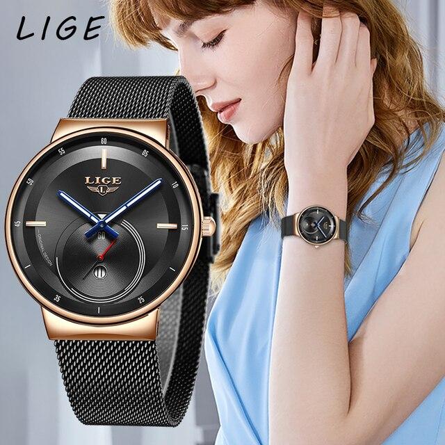 LIGE женские модные часы, креативные Женские повседневные часы из нержавеющей стали с сетчатым ремешком, стильные дизайнерские Роскошные Кварцевые часы для женщин 2020