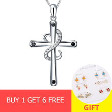 New arrivals 100% 925 sterling silver diy design cross pendant chain necklace with CZ stone fashion jewelry making women gifts