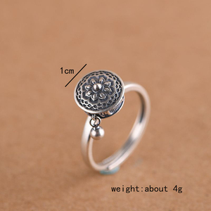 Image 5 - GAGAFEEL Retro Thai Silver Ring Womens Six word Mantra Open Ring Prayer Wheel Design Jewelry S925 Sterling Silver Rings