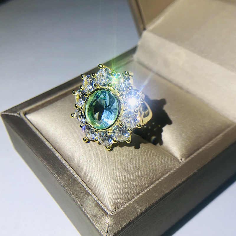 Luksusowe panie niebieski owalny cyrkon kamień pierścień moda Yellow Gold kwiat pierścionek zaręczynowy w stylu Vintage obrączki obrączki dla kobiet