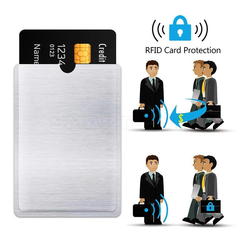 10Pcs/Lot Anti Theft Bank Credit Card Protector NFC RFID Blocking Cardholder Wallet Cover Aluminium Foil ID Business Card Case