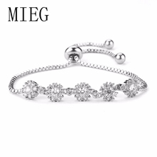MIEG Brand Snowflake Cubic Zirconia Crystal CZ Zircon Bridal Bracelets for Lady or Girls in 3 Assorted Colors
