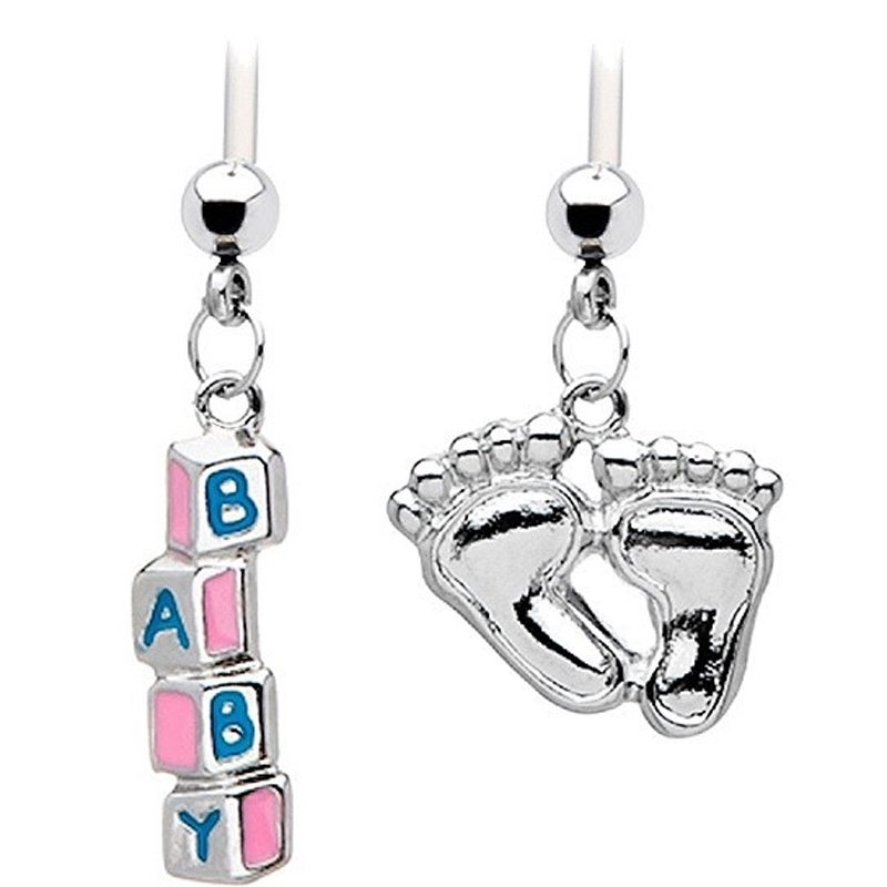 12 pçs bonito do bebê pés blocos anéis de barriga grávida ptfe anéis de barriga piercing ombligo praia biquini jóias umbigo anéis para mulher