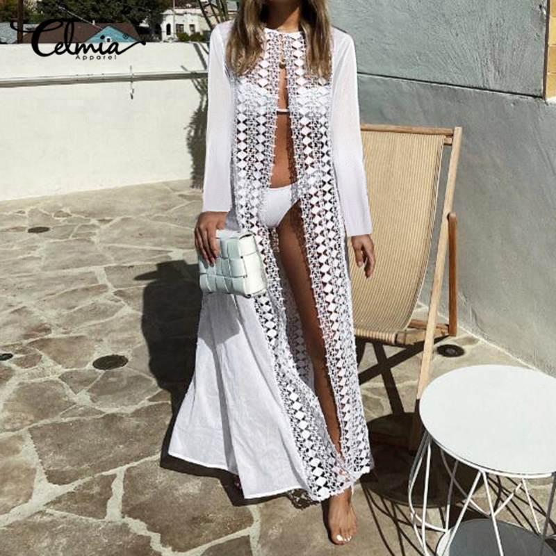 Celmia kadın dantel Cover up Sheer seksi uzun Kimono hırka 2020 yaz uzun kollu şeffaf içi boş plaj üstleri beyaz gömlek 7